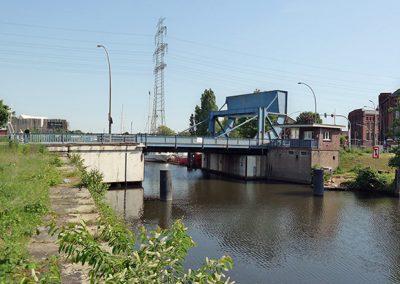Rollklappbrücke Harburger Schlossinsel, Bauwerk 46, Hamburg-Harburg, östlicher Bahnhofskanal