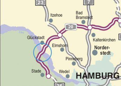 Neubau der Elbquerung (Elbe-Link), A 20 bei Glückstadt, Nord-West-Umfahrung Hamburg Abschnitt K 28 (Niedersachsen) bis B 431 (Schleswig-Holstein)